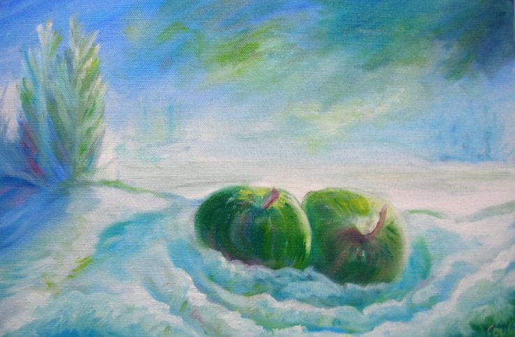 Pommes dans la neige